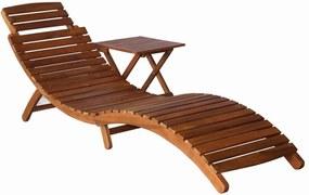 46653 vidaXL Șezlong cu masă, maro, lemn masiv de acacia