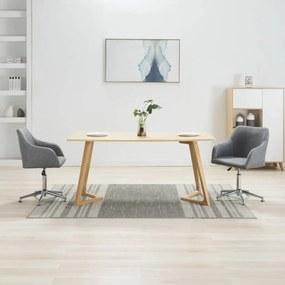 283479 vidaXL Scaune de sufragerie pivotante, 2 buc., gri deschis, textil