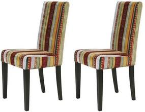 Set de 2 scaune Econo Very British lemn masiv/tesatura, multicolor, 96 x 45 x 50 cm
