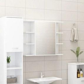 802612 vidaXL Dulap de baie cu oglindă, alb extralucios, 80x20,5x64 cm, PAL