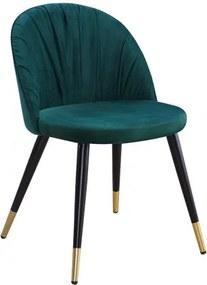 Scaun tapitat cu stofa si picioare metalice Monza Velvet Verde / Negru / Auriu, l51xA53xH78 cm
