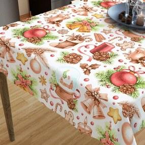 Goldea față de masă din bumbac de crăciun - model 030 - decorațiuni de crăciun pe alb 40 x 40 cm