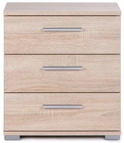 Noptieră cu 3 sertare și aspect de lemn de stejar Intertrade Elora
