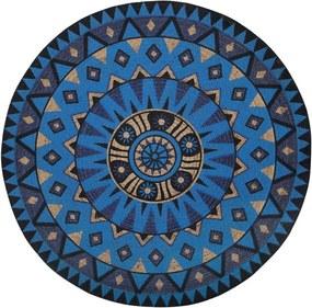 Covor rotund Unur, albastru/negru/bej, 140 cm