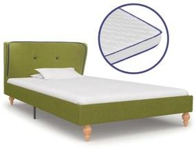 277327 vidaXL Pat cu saltea cu spumă cu memorie, verde, 90 x 200 cm, textil