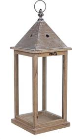 Felinar metal lemn sticla Chalet 20 cm x 20 cm x 54 h