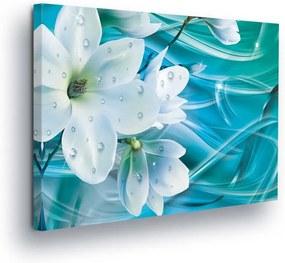 GLIX Tablou - White Flower on Azure Base 80x60 cm