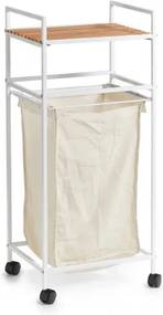 Etajera mobila cu cos de rufe incorporat, Metal White, l39xA32,5xH89,5 cm