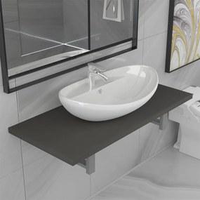 279352 vidaXL Set mobilier de baie, 2 piese, gri, ceramică