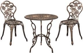 Set bistro - masa rotunda cu 2 scaune bronz