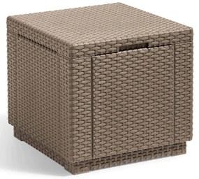 422802 Allibert Taburet tip cub cu spațiu de depozitare, cappuccino, 228749