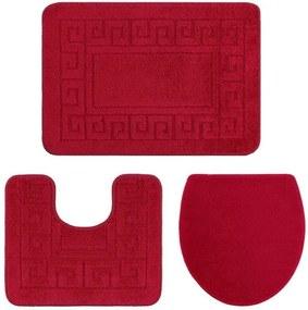 Set 3 covoraşe de baie Confetti Ethnic Oyuklu, 40 x 50 cm, roşu