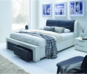 CASSANDRA S 140 cm pat tapițat cu sertare alb – negru