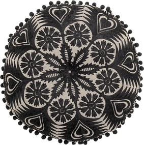 Pernă decorativă Bloomingville Mandala, ø 36 cm, negru-bej