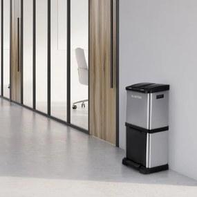 Klarstein ÖKOSYSTEM², coș de gunoi, coș de sortare a gunoiului, 30 L (1 X 15 L, 2 x 7,5 L) oțel inoxidabil PE