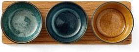 Set Boluri Ceramice pentru Servire (3 buc) - Ceramica Multicolor Diametru(10 cm) x Inaltime(6 cm)