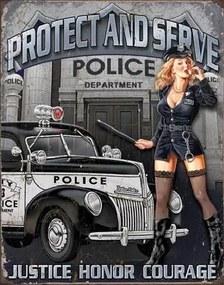 POLICE DEPT - protect & serve Placă metalică, (32 x 41 cm)