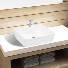 141936 vidaXL Chiuvetă de baie pătrată din ceramică cu gaură pentru robinet, alb