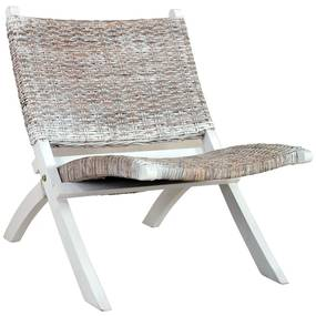 285800 vidaXL Scaun relaxare, alb & natural, ratan kubu & lemn masiv de mahon