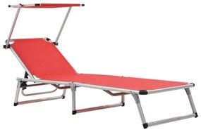 44334 vidaXL Șezlong pliabil cu acoperiș, roșu, aluminiu și textilenă