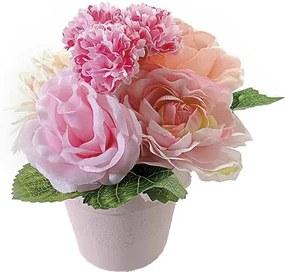 Flori artificiale roz in ghiveci rotund cm 8 x 8 x 15 H