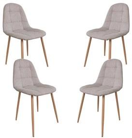 Set 4 scaune dining/buctarie MF HANS, Textil, Bej