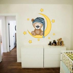 Stickere de perete Deluxe - Ursul somnoros 70x50 albastru pentru băiat