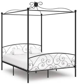 284478 vidaXL Cadru de pat cu baldachin, negru, 160 x 200 cm, metal