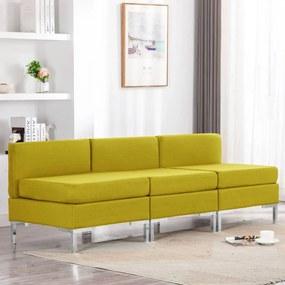 287057 vidaXL Canapele de mijloc modulare cu perne, 3 buc., galben, textil