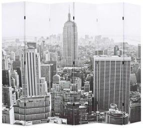 245860 vidaXL Paravan cameră pliabil, 228 x 170 cm, New York pe zi, alb/negru