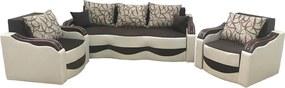 Set canapea cu 2 fotolii maro cu crem - model MILANO
