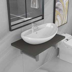 279333 vidaXL Set mobilier de baie, 2 piese, gri, ceramică
