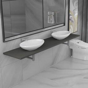 279390 vidaXL Set mobilier de baie din trei piese, gri, ceramică