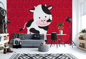 Fototapet GLIX - Happy Cartoon Cow + adeziv GRATUIT Papírová tapeta  - 368x280 cm
