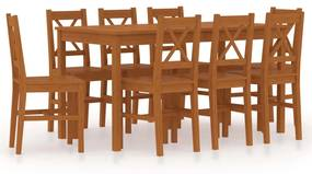 283380 vidaXL Set mobilier de bucătărie, 9 piese, maro miere, lemn de pin