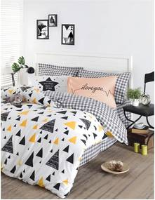Lenjerie de pat din bumbac ranforce pentru pat de 1 persoană Mijolnir Ilove Black & Yellow, 140 x 200 cm