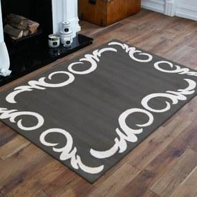 Covor elegant culoarea gri cu ornament alb Lăţime: 80 cm   Lungime: 150 cm