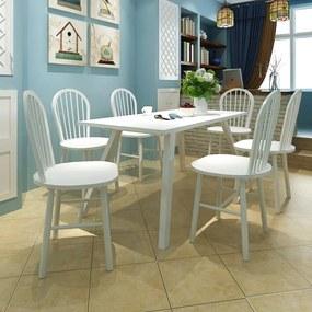 272090 vidaXL Scaune de bucătărie, 6 buc., alb, lemn masiv