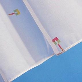 Goldea voal alb fin cu ipmprimeu colorat model 1013 - metraj 180 cm