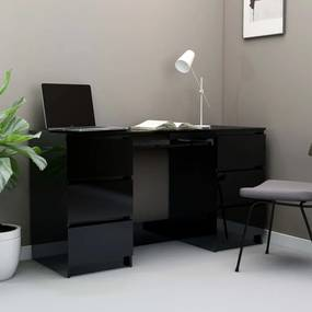 800817 vidaXL Birou de scris, negru extralucios, 140 x 50 x 77 cm, PAL