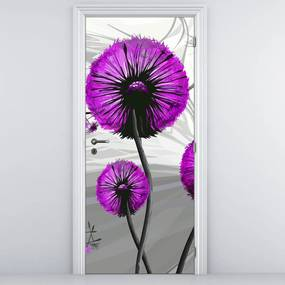 Fototapeta pentru ușă - păpădia abstractă violetă (95x205cm)