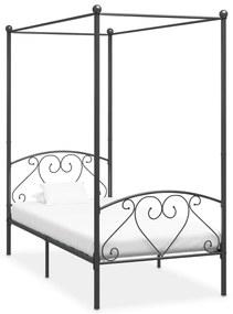 284440 vidaXL Cadru de pat cu baldachin, gri, 90 x 200 cm, metal