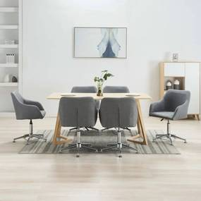 278428 vidaXL Scaune de sufragerie pivotante, 6 buc., gri deschis, textil