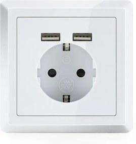 OneConcept WS-2USB, priză electrică cu contact de protecție, 2 X porturi USB, sub tencuială, montate pe perete
