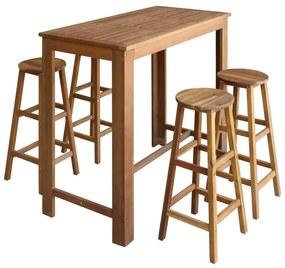 246668 vidaXL Set masă și scaune de bar, 5 piese, lemn masiv de acacia