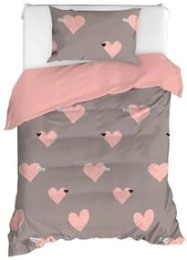 Lenjerie de pat din bumbac ranforce pentru pat de o persoană Mijolnir Jana Dusty Rose, 140 x 200 cm