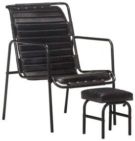 323729 vidaXL Fotoliu de relaxare cu suport picioare, negru, piele naturală