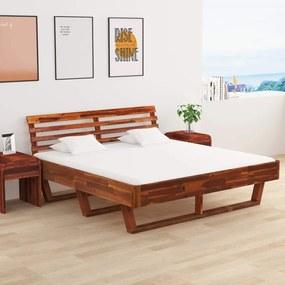 Cadru de pat cu 2 noptiere, 180 x 200 cm, lemn masiv de acacia