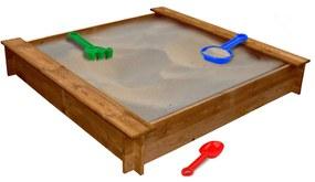 Cutie de nisip pătrată pentru copii, lemn