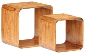 289627 vidaXL Mese laterale, 2 buc., lemn masiv de acacia, finisaj sheesham